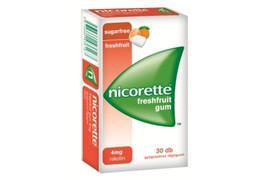 Nicorette Freshfruit guma de mestecat impotriva fumatului 4mg, 30 gume, McneiL